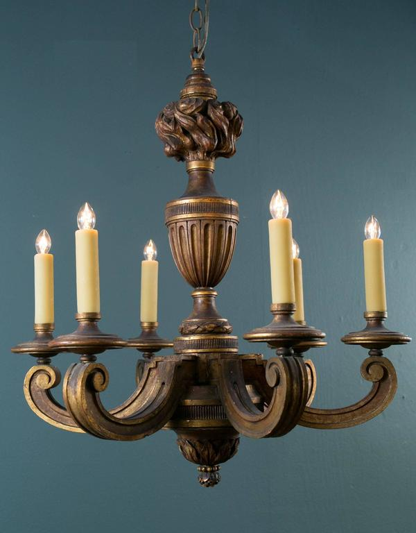Empire Style Carved Gilt Wood Chandelier with Six Arms from France, circa 1900 2