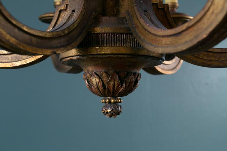 Empire Style Carved Gilt Wood Chandelier with Six Arms from France, circa 1900 5