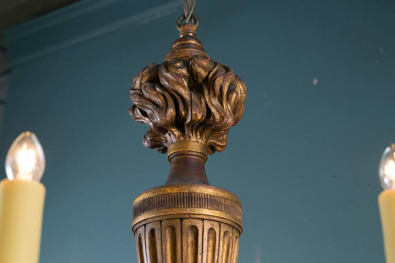 Empire Style Carved Gilt Wood Chandelier with Six Arms from France, circa 1900 6