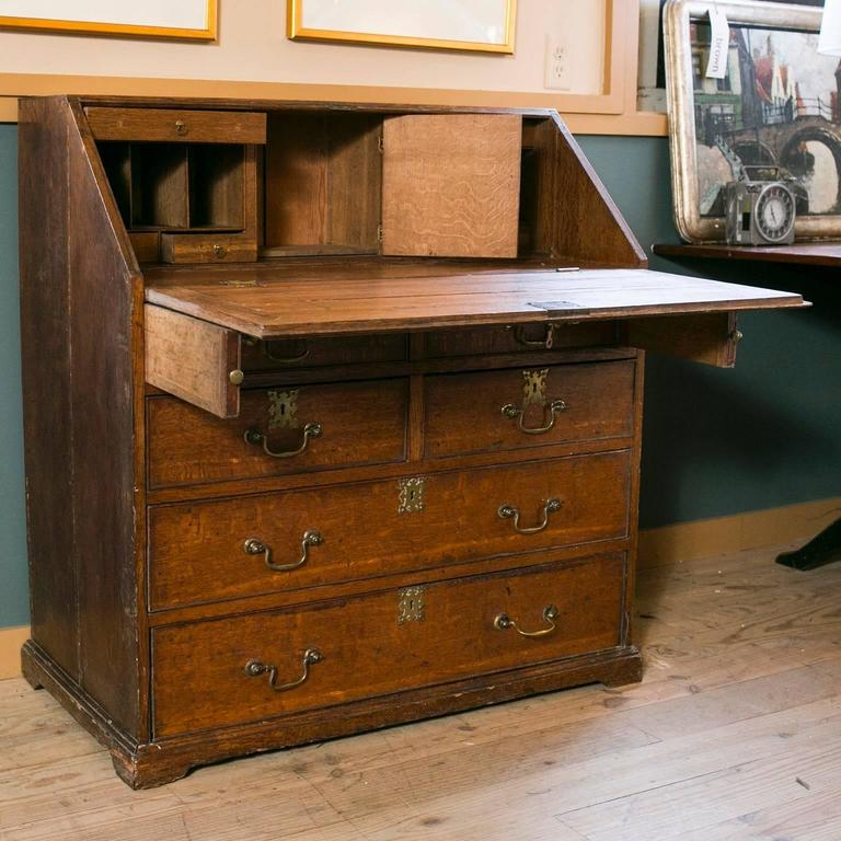 Antique French Drop Front Solid Wood Secretary And Chest