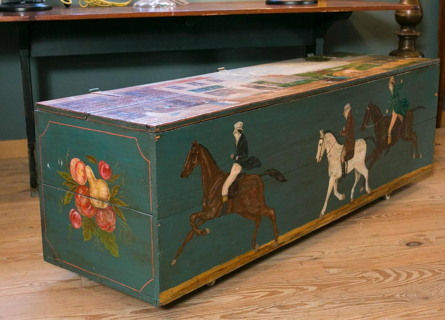 Antique blanket chest on casters hand painted by lew for Hand painted chests