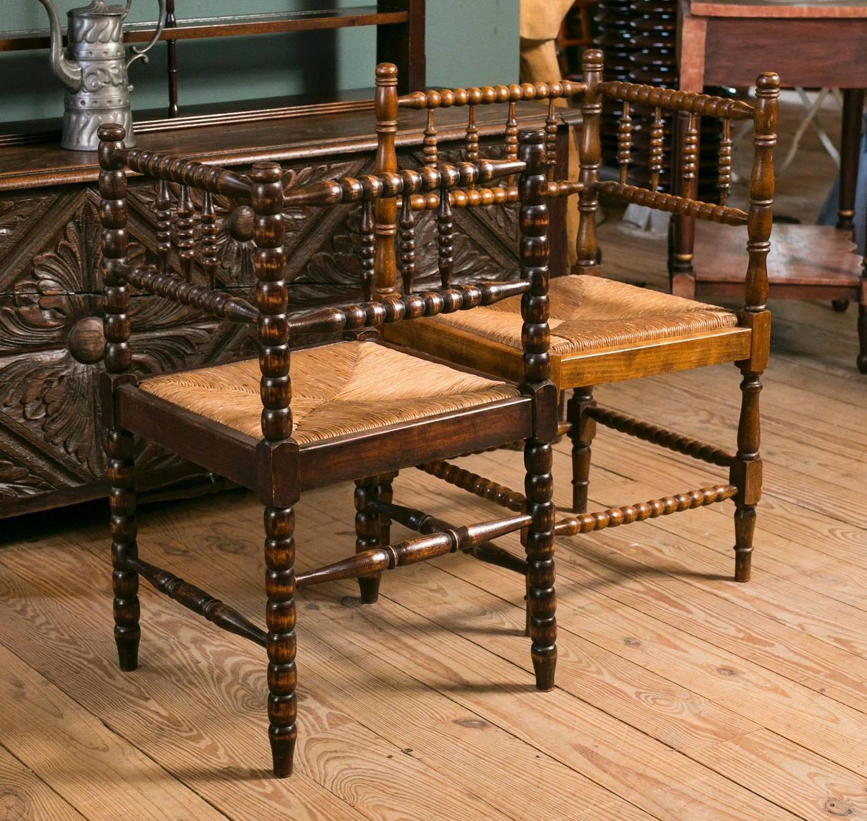 Near Pair Of Vintage Bobbin Style Rush Seat Corner Chairs