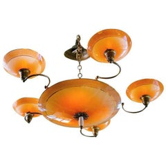 Art Deco Salmon Colored Glass Chandelier from France, circa 1940