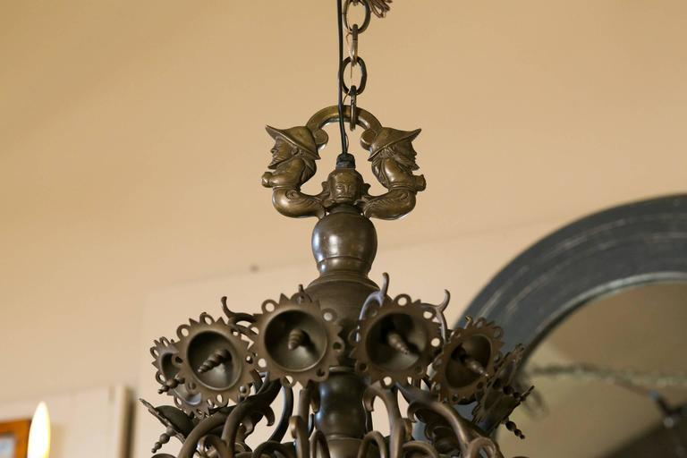 Magnificent Bronze Dutch Baroque Flemish Style Chandelier from Belgium circa 188 4