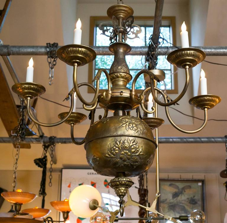 Large Antique Brass Floral Repousse' Six-Arm Chandelier from France circa 1900 2