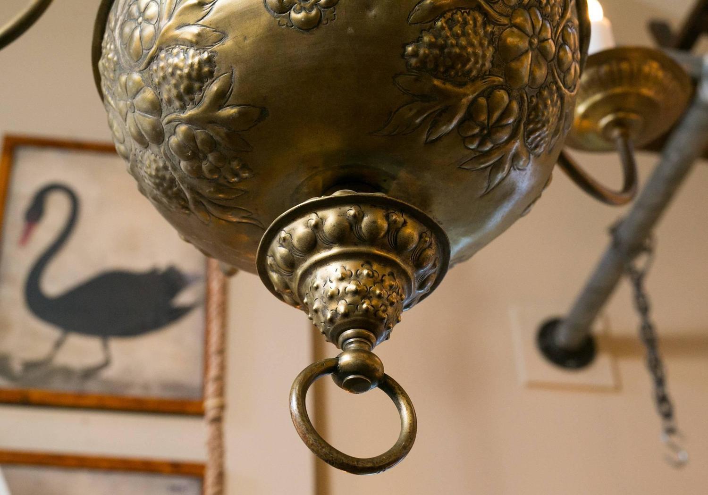 Rare Antique Repousse Dutch Style Six Arm Chandelier For
