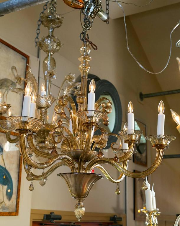 Large Tea Colored Or Amber Murano Glass Chandelier With Scrolls And Drops Eight
