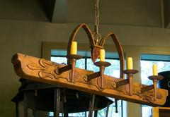 One of a Kind Rustic Wood and Iron Italian Chandelier