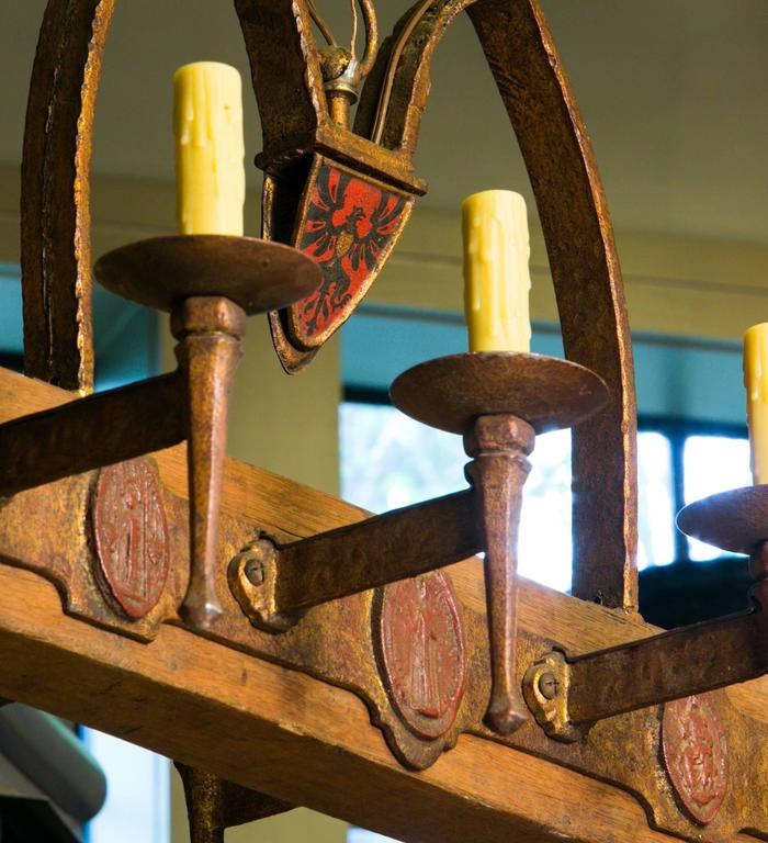 One of a Kind Rustic Wood and Iron Spanish Chandelier, circa 1940 3