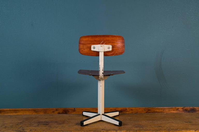 Mid-Century Plywood and Painted Steel Industrial Child's Chair 4