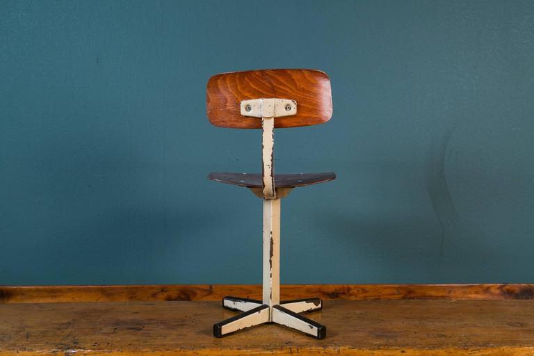 Mid-Century Plywood and Painted Steel Industrial Child's Chair 3