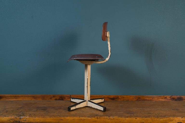 Mid-Century Plywood and Painted Steel Industrial Child's Chair 6