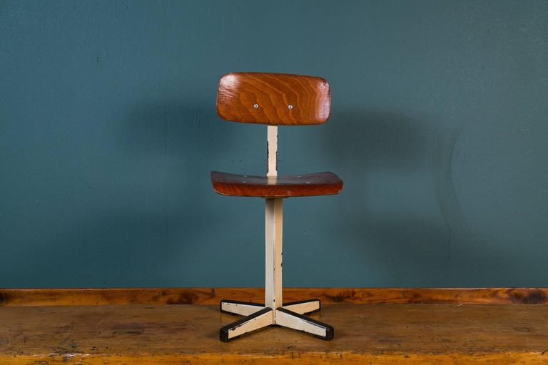 Mid-Century Plywood and Painted Steel Industrial Child's Chair 2