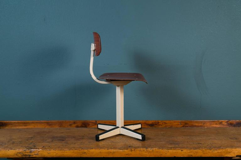 Mid-Century Plywood and Painted Steel Industrial Child's Chair 5