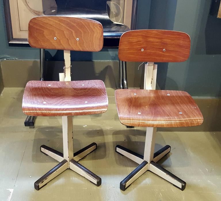 Mid-Century Plywood and Painted Steel Industrial Child's Chair 7