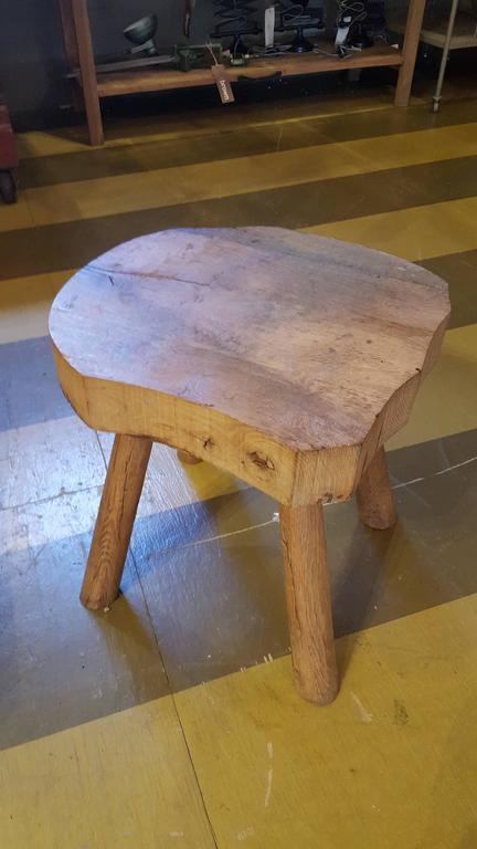 Rustic Primitive Chunky Wood Stool For Sale