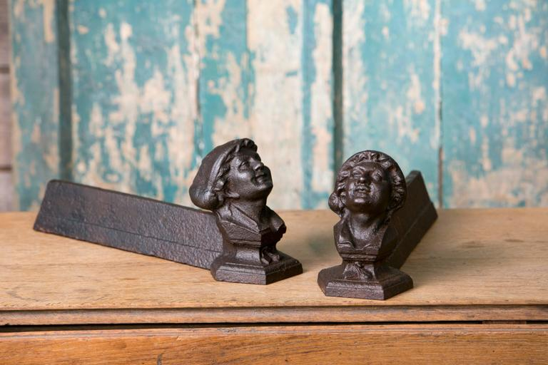 Antique French Figural Andirons for Fireplace 3