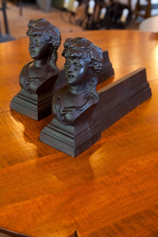 Antique French Figural Andirons for Fireplace 4