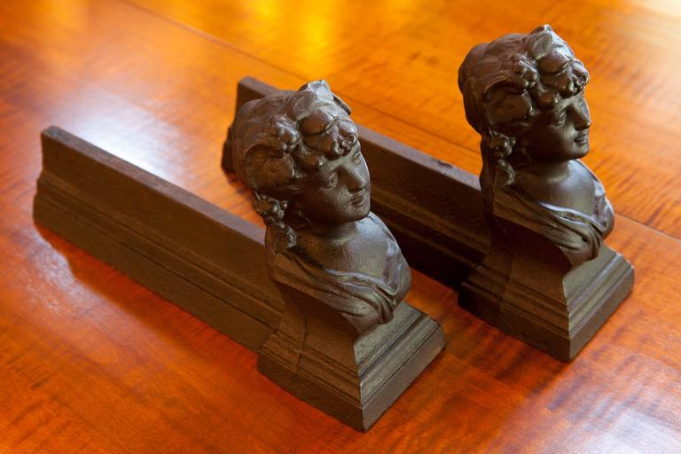Antique French Figural Andirons for Fireplace 5