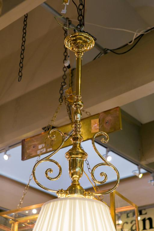 Custom Polished Brass Pendants With Silk Shades For Sale