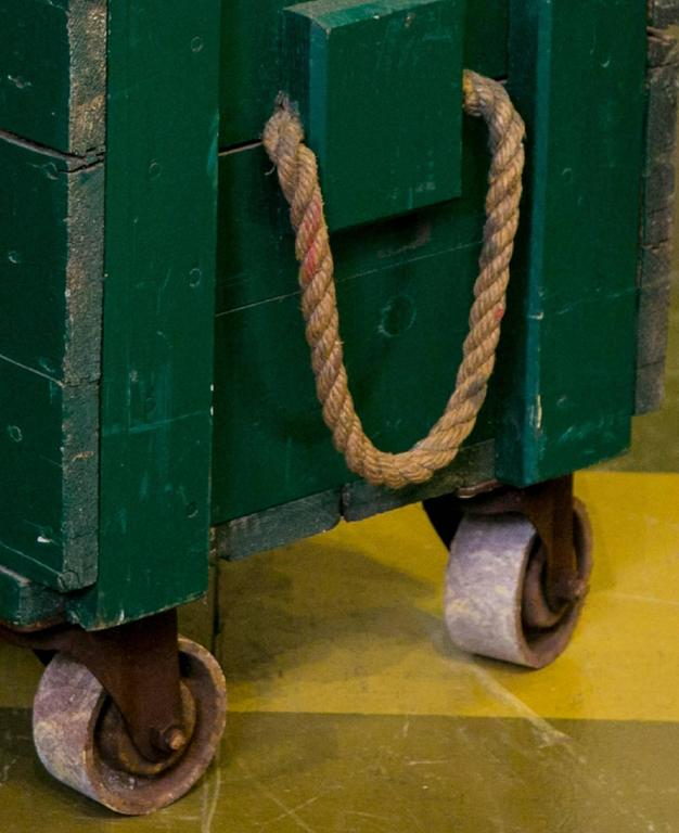Vintage Green Wooden Trunks on Casters with Rope Handles and Hinged Lid 4