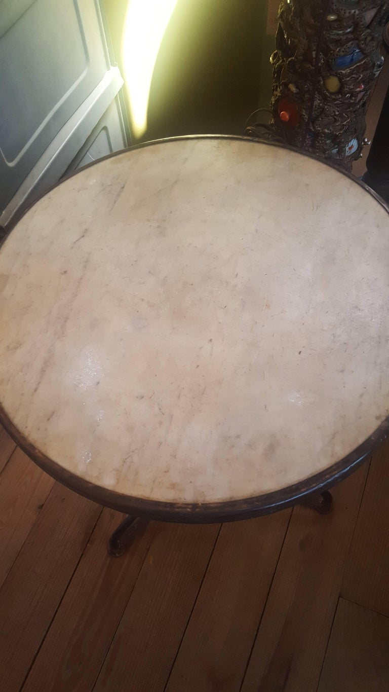 Marble-Top Iron Bistro Table from France, circa 1900 6