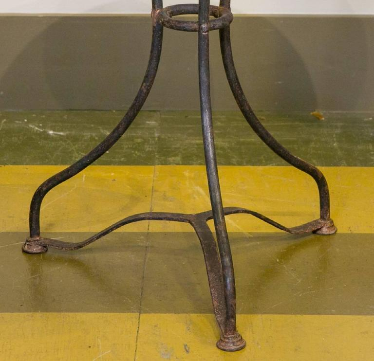 Marble-Top Iron Bistro Table from France, circa 1900 3