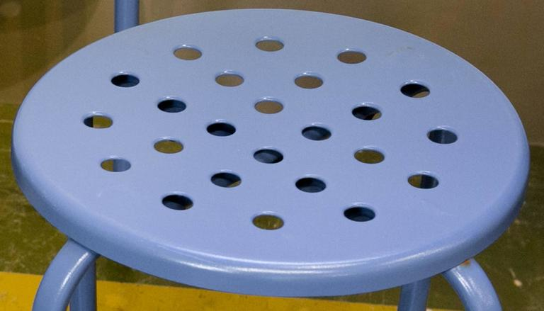 Set of Three Blue Perforated Blue Stools from France, circa 1960 3