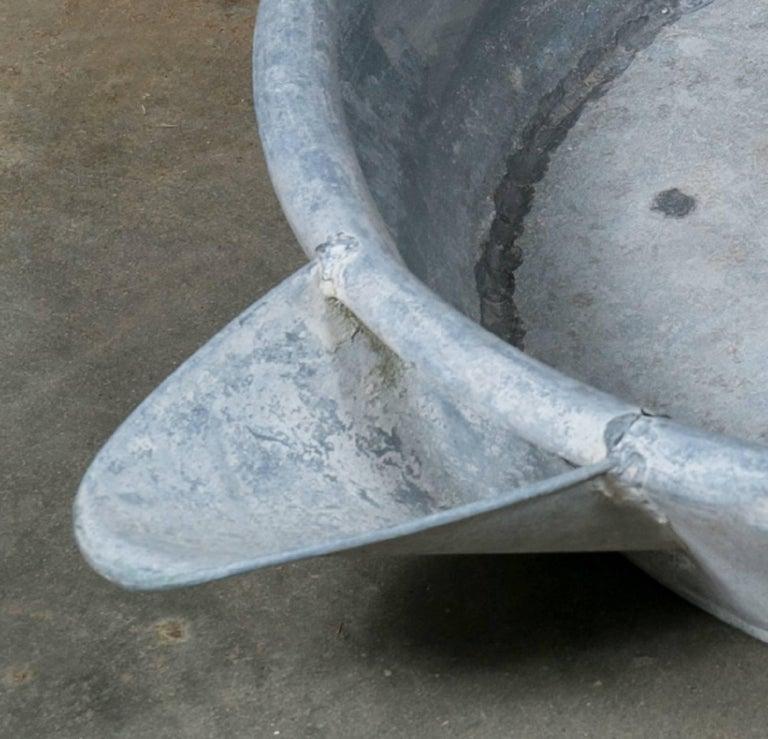 Oversized Vintage Industrial Zinc Bowl with Spout 4