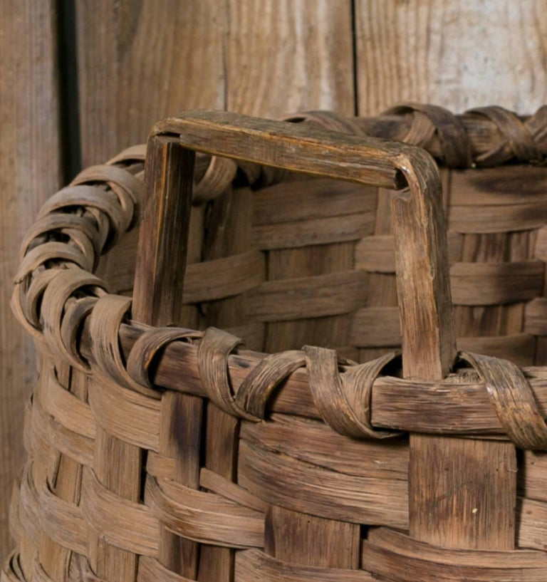 Rustic Large Antique Round Woven Wood Basket with Square Handles, circa 1910 For Sale