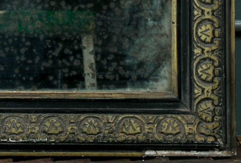 Antique Black And Gold Louis Philippe Mirror From Belgium