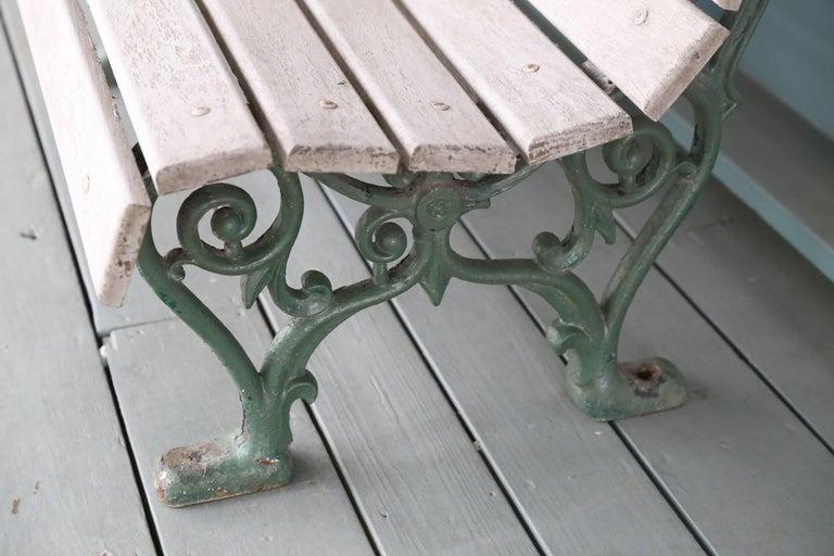Belle Époque Curved Wood Slat And Iron Park Bench With Back From Belgium Circa 1910