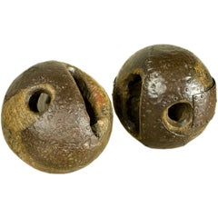 Pair 19th Century Belgian Wood and Iron Game Balls