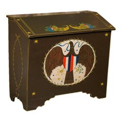 Americana Blanket Chest with Eagle, circa 1900, Hand-Painted by Lew Hudnall
