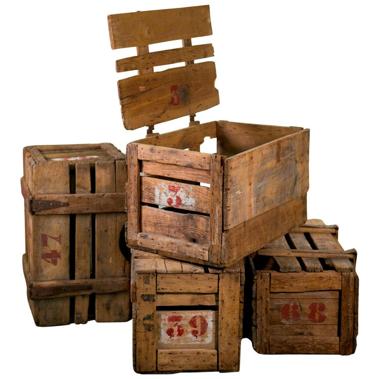 Primitive Handcrafted French Wooden Crates With Stenciled Numbers Circa 1900 For Sale At 1stdibs
