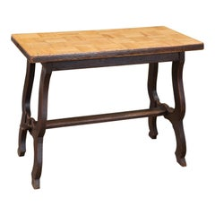 Handcrafted Art Deco-Style Belgian Parquet Wood Top Table, circa 1920
