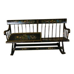 American Wooden Mammy Bench Rocker, circa 1890, Hand-Painted by Lew Hudnall