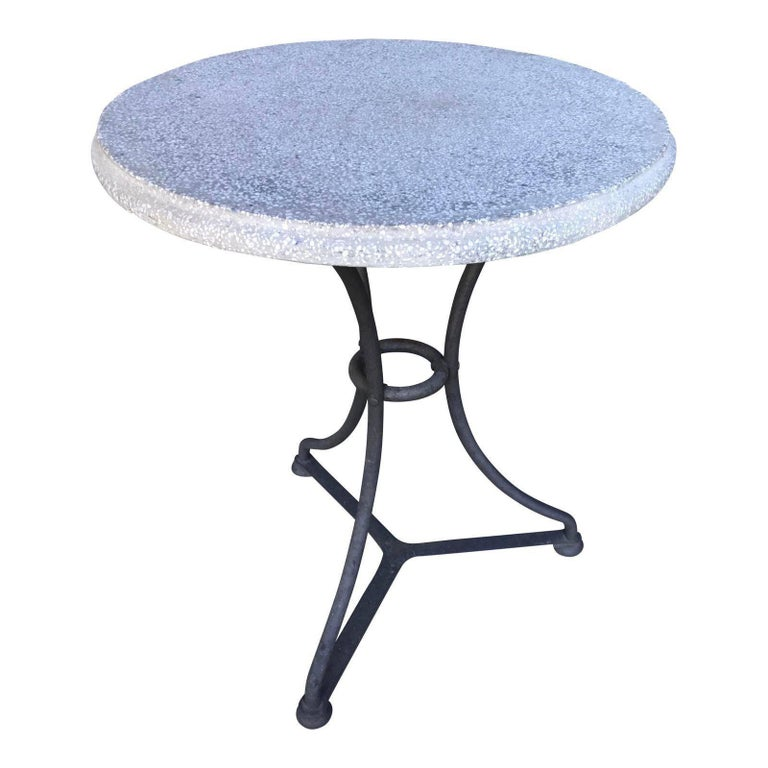 Pair of Gray and Black Belgian Iron and Terrazzo Gueridon Bistro Tables