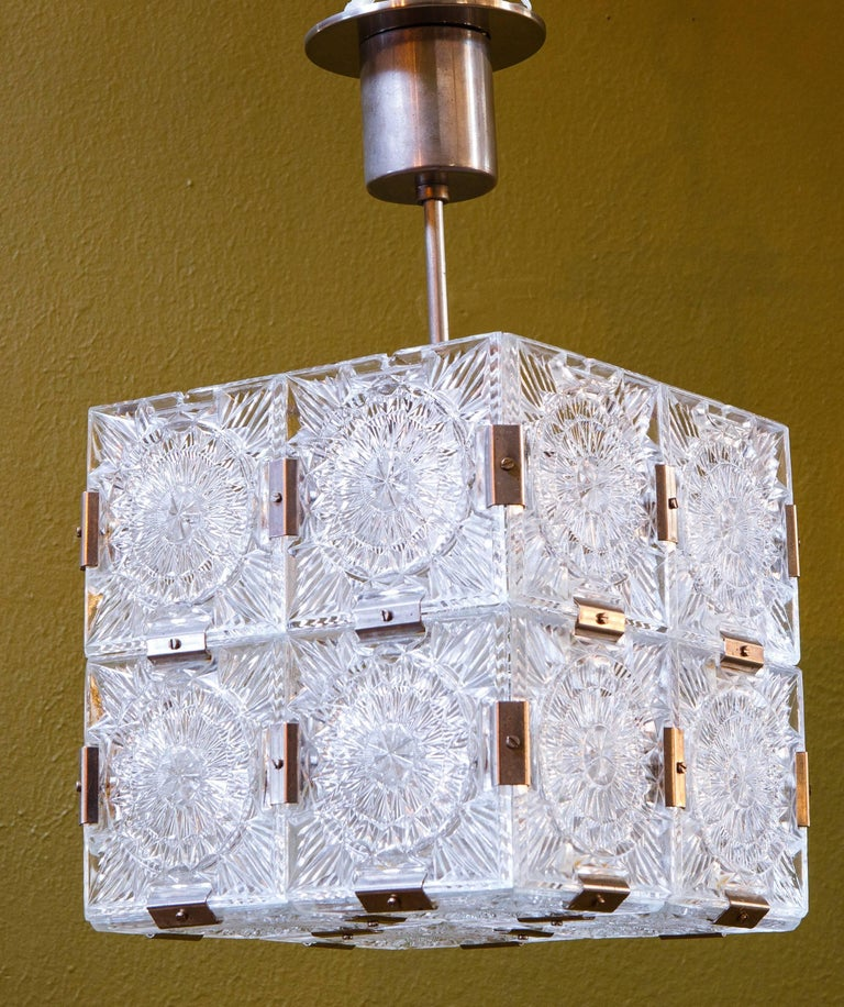 Four Mid Century Modern Glass Cube Pendant Lights Attributed to Kalmar 3