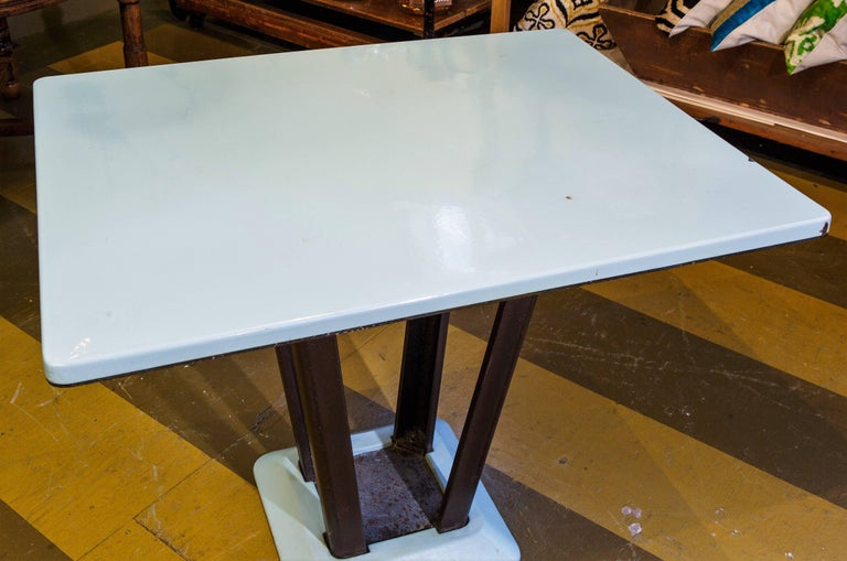 Belgian Porcelain Enamel on Iron Rectangular Art Deco Table For Sale