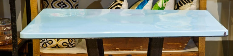 Porcelain Enamel on Iron Rectangular Art Deco Table In Good Condition For Sale In Houston, TX