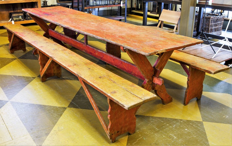 Gustavian Set Swedish Long Table with Two Benches, circa 1800 For Sale