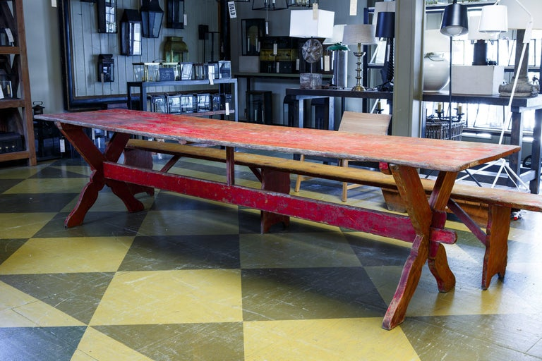 Set Swedish Long Table with Two Benches, circa 1800 In Good Condition For Sale In Houston, TX