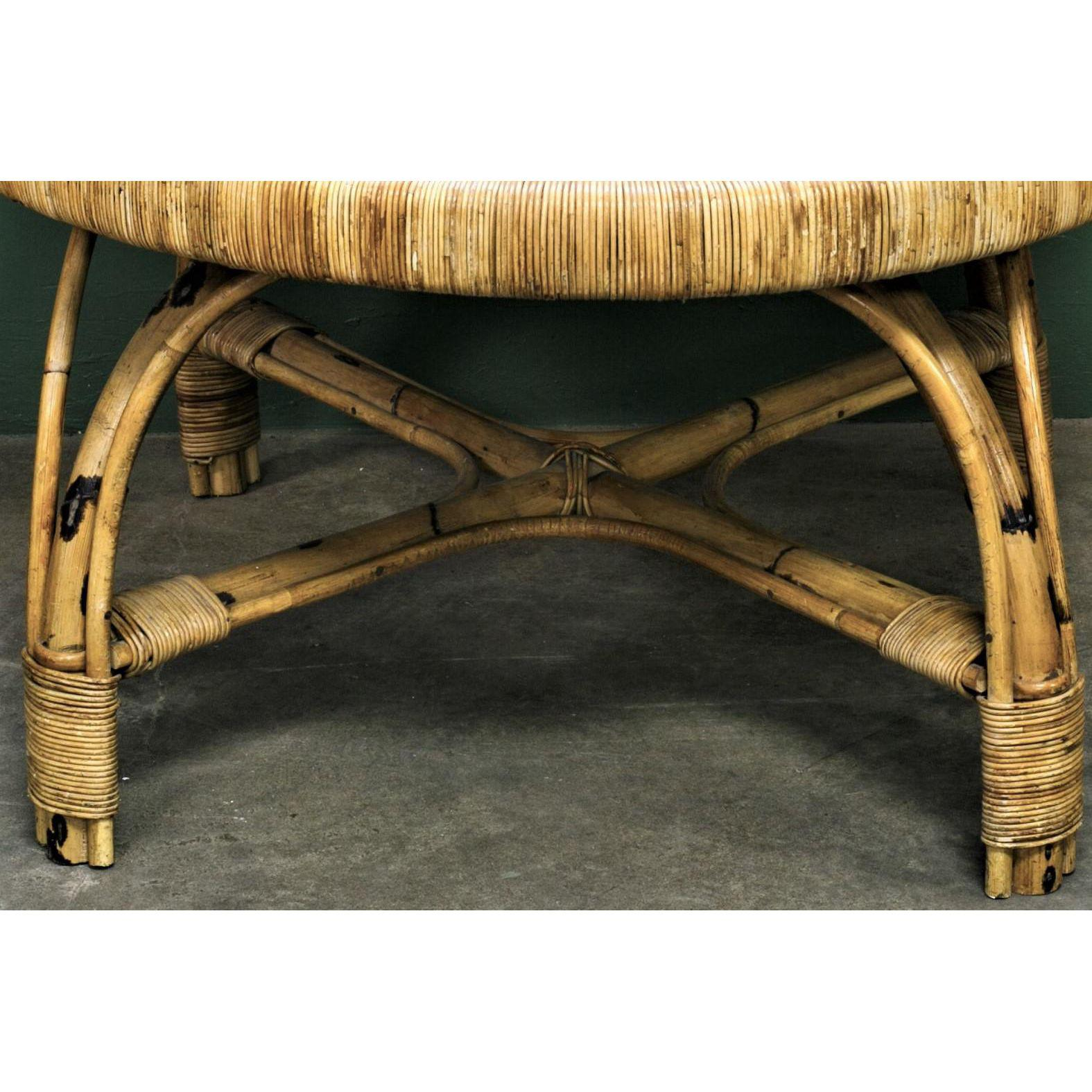 Mid Century Round French Rattan And Tortoise Bamboo Coffee Table With Tile Top At 1stdibs