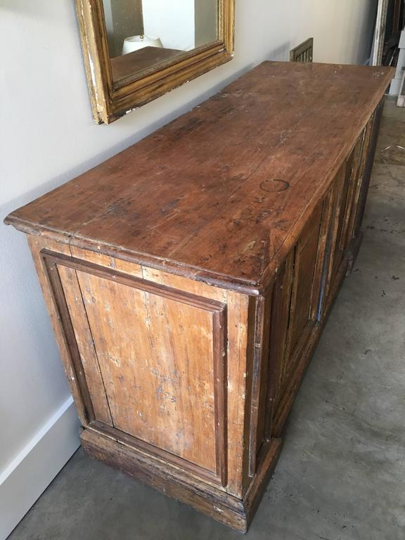 18th century two-door buffet from Tuscany, original paint with blue interior.