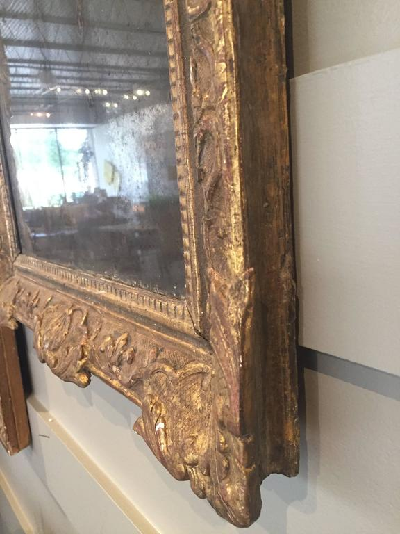 Louis XIV Gilt Mirror with Original Mercury Mirror In Good Condition For Sale In Houston, TX