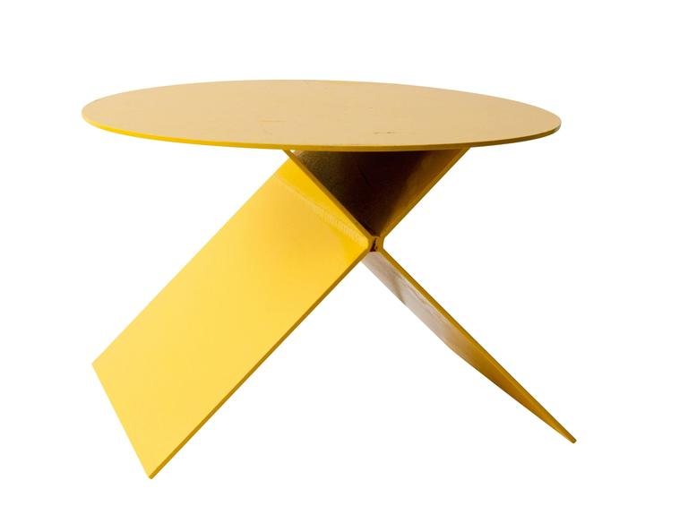 Modern Steel Plate Side Table in Chromium Yellow 2