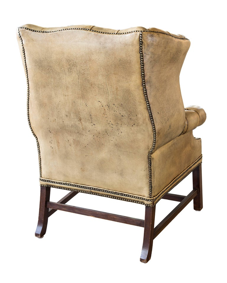 Late 19th Century English Leather Wingback Chair For Sale 1