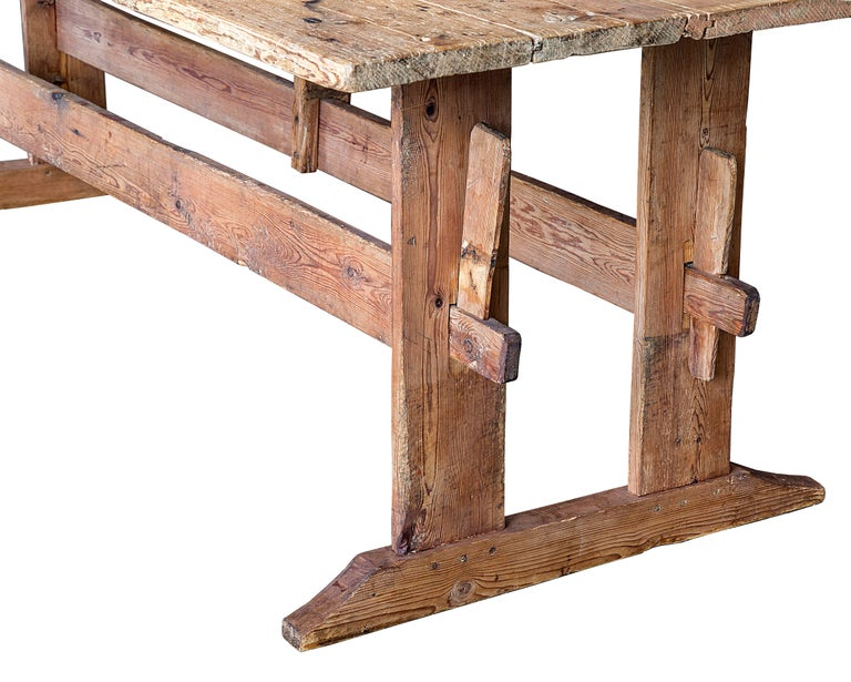 19th Century Swedish Double Trestle Bare Table with Original Surface.