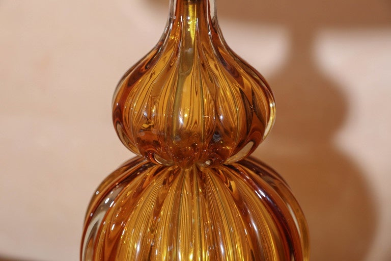 Italian Murano Amber Color Glass Lamp by Masbro For Sale